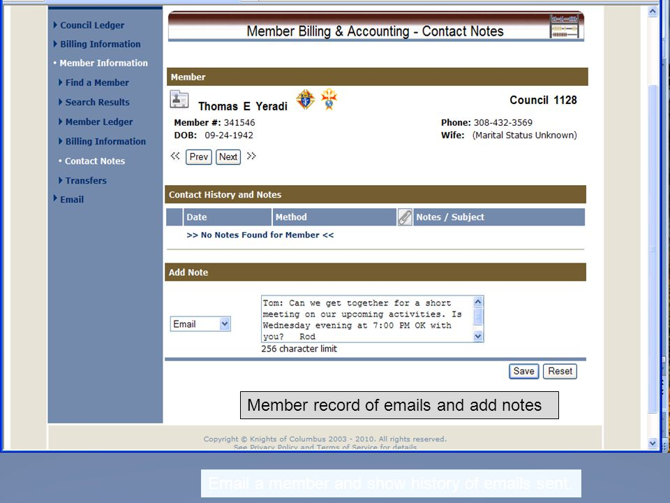 Email a member and show history of emails sent. Member record of emails and add notes