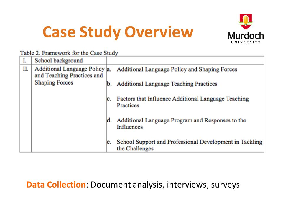 Case Study Overview Data Collection: Document analysis, interviews, surveys