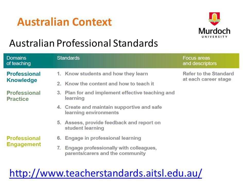 http://www.teacherstandards.aitsl.edu.au/ Australian Professional Standards Australian Context