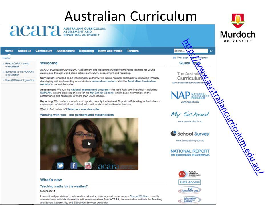 Australian Curriculum http://www.australiancurriculum.edu.au/