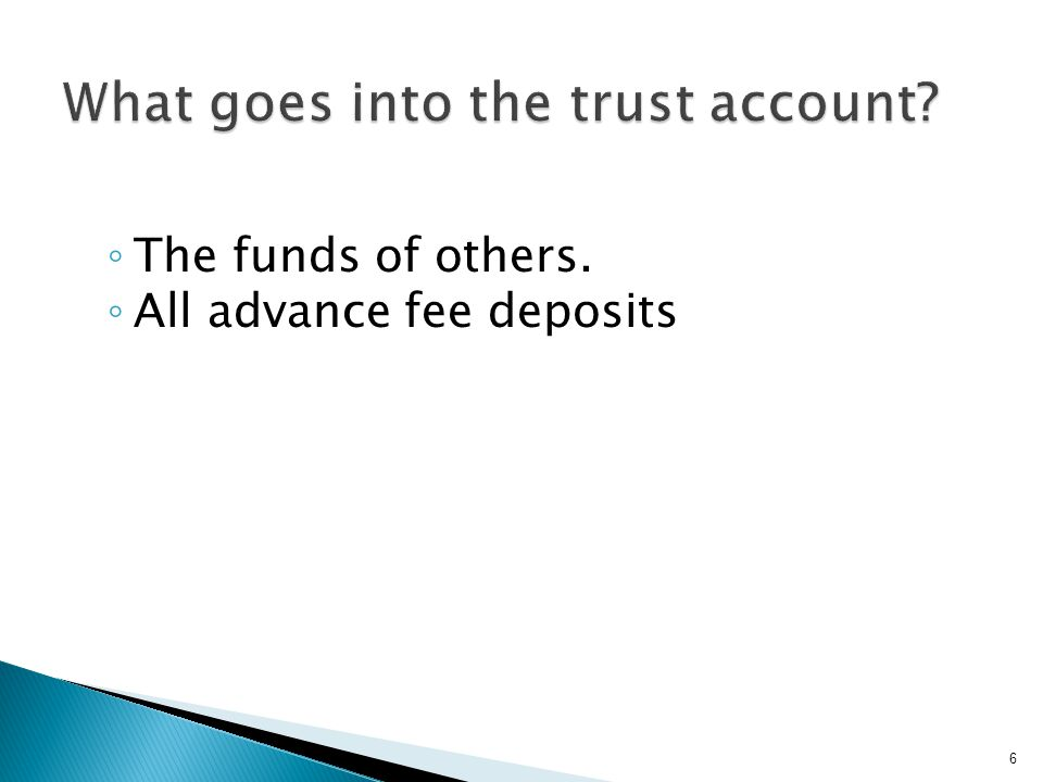  Ledger records for each account, including the source of all funds deposited, for who the funds are being held, amount of funds, descriptions for withdrawals, and names of persons or entities to whom funds are disbursed.