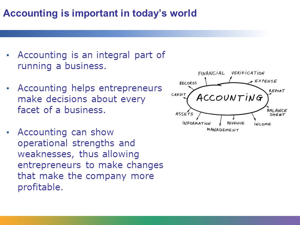 Accounting is important in today's world Accounting is an integral part of running a business.