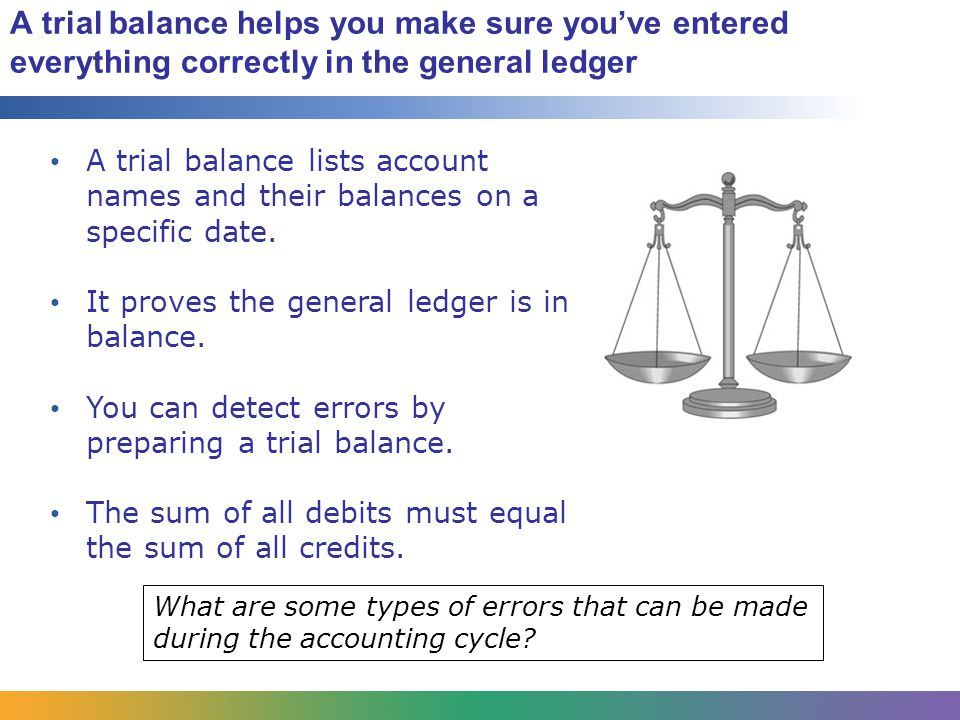 A trial balance helps you make sure you've entered everything correctly in the general ledger A trial balance lists account names and their balances on a specific date.