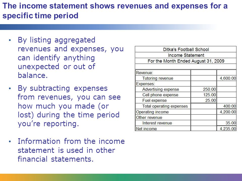 The income statement shows revenues and expenses for a specific time period By listing aggregated revenues and expenses, you can identify anything unexpected or out of balance.