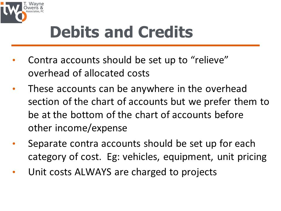 Debits and Credits Contra accounts should be set up to relieve overhead of allocated costs These accounts can be anywhere in the overhead section of the chart of accounts but we prefer them to be at the bottom of the chart of accounts before other income/expense Separate contra accounts should be set up for each category of cost.