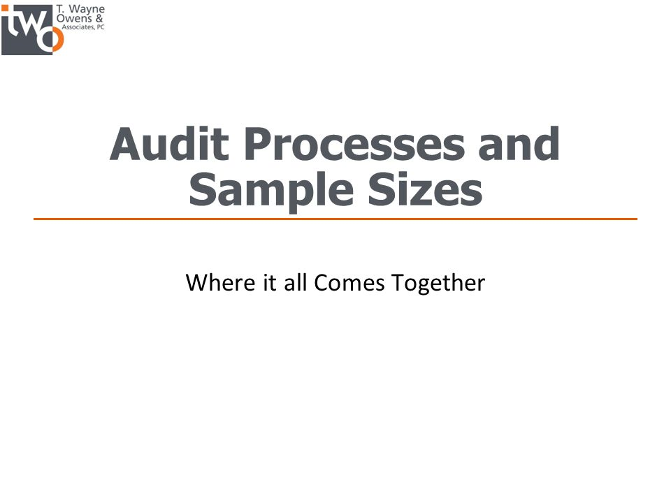 Audit Processes and Sample Sizes Where it all Comes Together