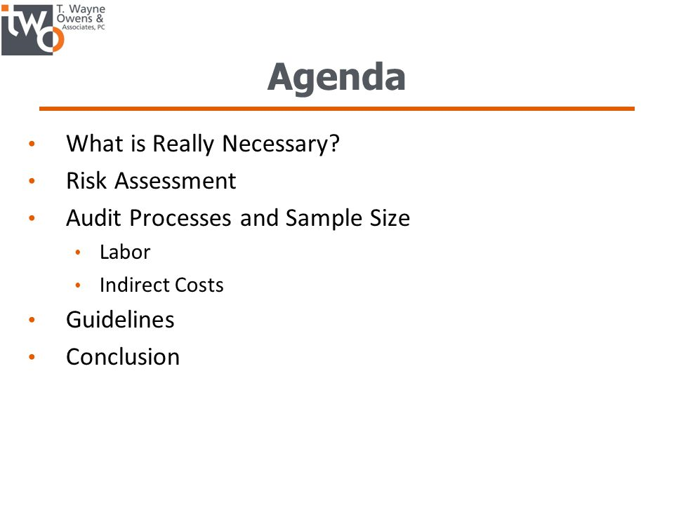 Agenda What is Really Necessary.