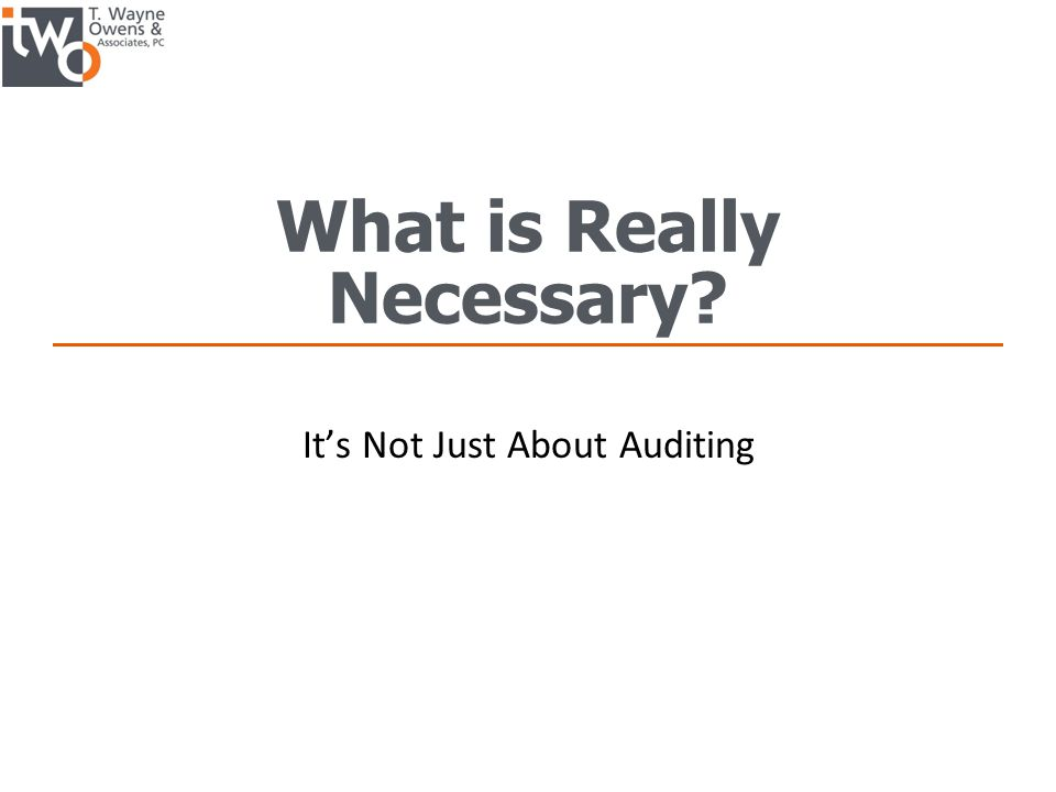 What is Really Necessary? It's Not Just About Auditing