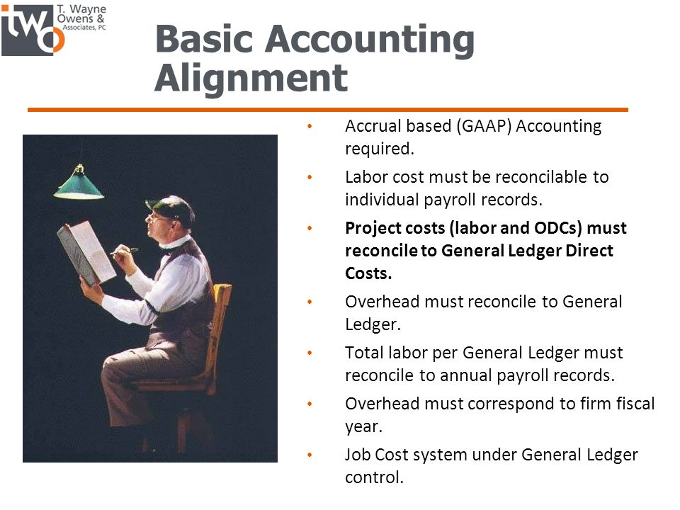 Basic Accounting Alignment Accrual based (GAAP) Accounting required.