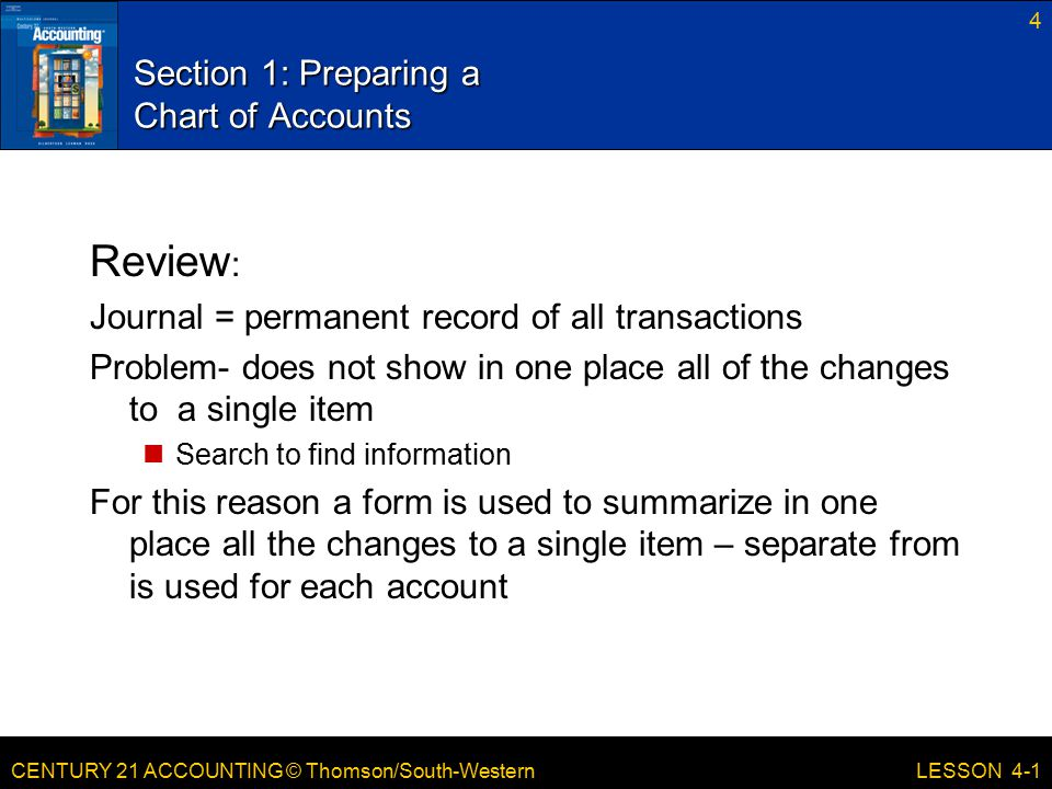 CENTURY 21 ACCOUNTING © Thomson/South-Western 4 LESSON 4-1 Section 1: Preparing a Chart of Accounts Review : Journal = permanent record of all transac