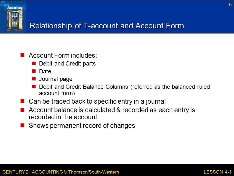 CENTURY 21 ACCOUNTING © Thomson/South-Western 5 LESSON 4-1 Relationship of T-account and Account Form Account Form includes: Debit and Credit parts Da