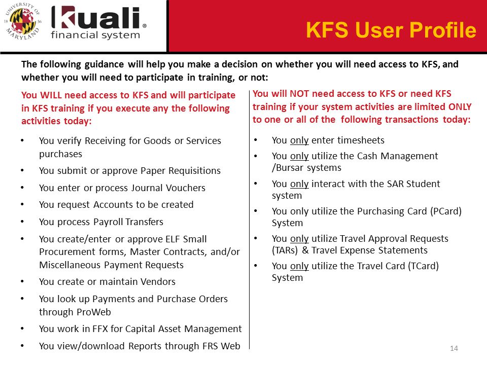 The following guidance will help you make a decision on whether you will need access to KFS, and whether you will need to participate in training, or not: You WILL need access to KFS and will participate in KFS training if you execute any the following activities today: You verify Receiving for Goods or Services purchases You submit or approve Paper Requisitions You enter or process Journal Vouchers You request Accounts to be created You process Payroll Transfers You create/enter or approve ELF Small Procurement forms, Master Contracts, and/or Miscellaneous Payment Requests You create or maintain Vendors You look up Payments and Purchase Orders through ProWeb You work in FFX for Capital Asset Management You view/download Reports through FRS Web You will NOT need access to KFS or need KFS training if your system activities are limited ONLY to one or all of the following transactions today: You only enter timesheets You only utilize the Cash Management /Bursar systems You only interact with the SAR Student system You only utilize the Purchasing Card (PCard) System You only utilize Travel Approval Requests (TARs) & Travel Expense Statements You only utilize the Travel Card (TCard) System 14 KFS User Profile