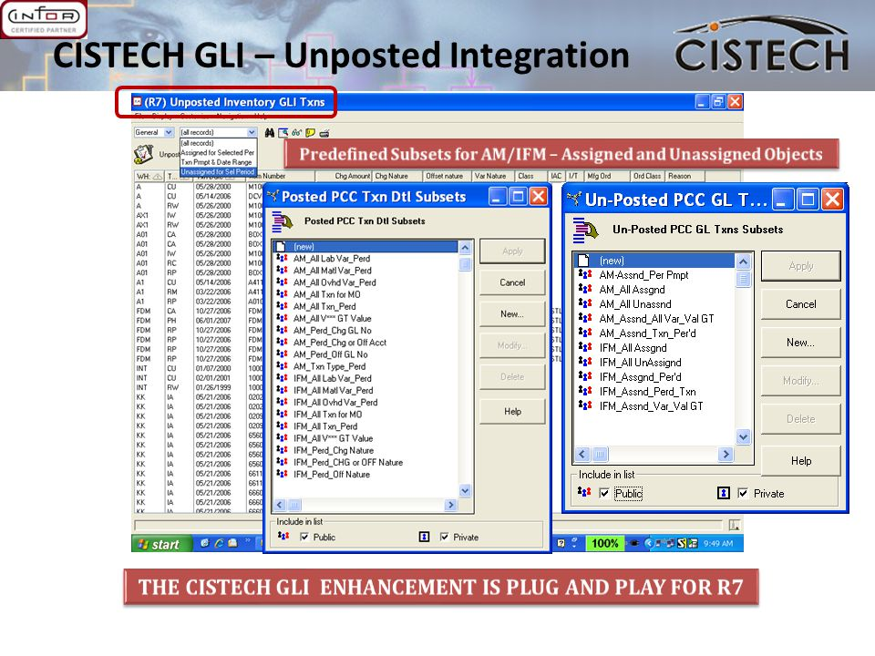 CISTECH GLI – Unposted Integration