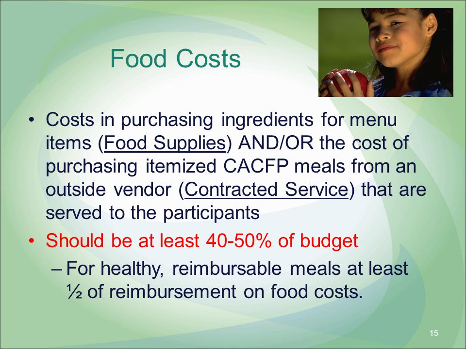 Food Costs Costs in purchasing ingredients for menu items (Food Supplies) AND/OR the cost of purchasing itemized CACFP meals from an outside vendor (C