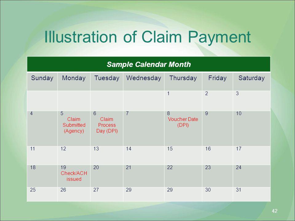 Illustration of Claim Payment Sample Calendar Month SundayMondayTuesdayWednesdayThursdayFridaySaturday 123 45 Claim Submitted (Agency) 6 Claim Process Day (DPI) 78 Voucher Date (DPI) 910 11121314151617 1819 Check/ACH issued 2021222324 25262729 3031 42