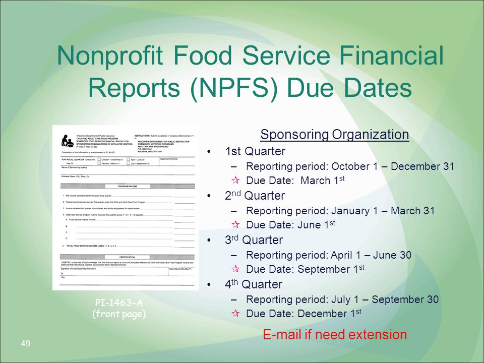 Nonprofit Food Service Financial Reports (NPFS) Due Dates Sponsoring Organization 1st Quarter –Reporting period: October 1 – December 31  Due Date: M