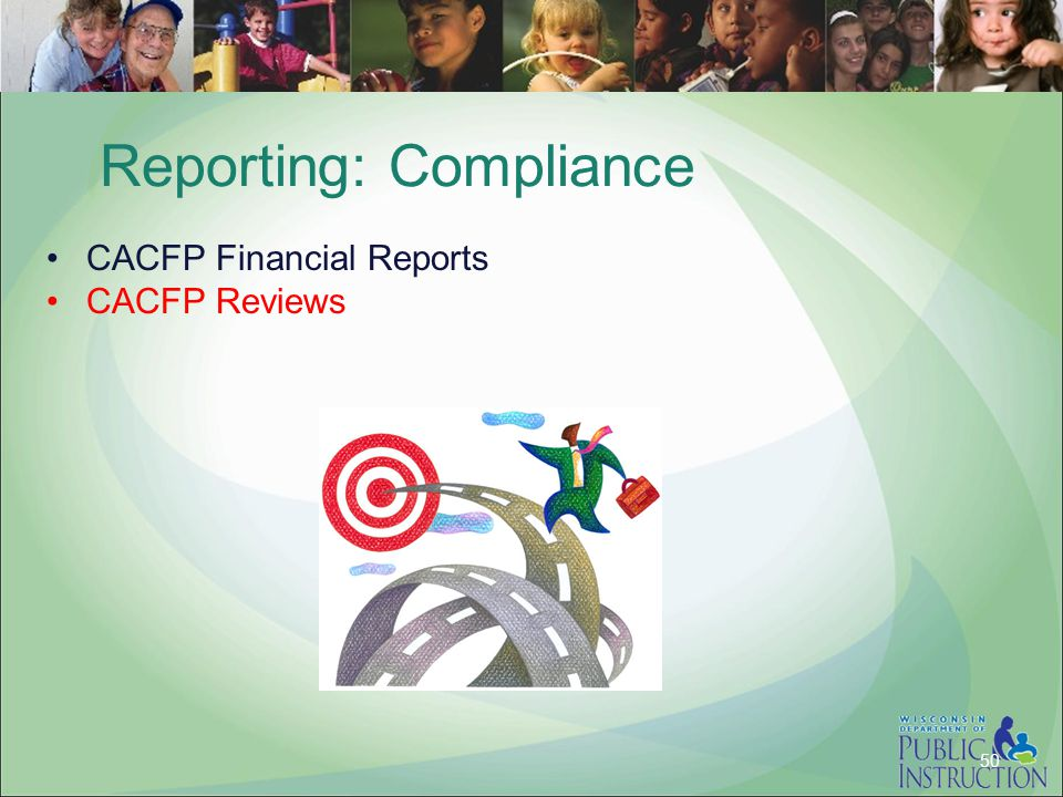 Reporting: Compliance CACFP Financial Reports CACFP Reviews 50