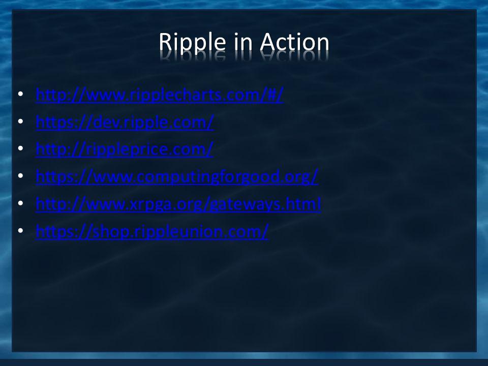 http://www.ripplecharts.com/#/ https://dev.ripple.com/ http://rippleprice.com/ https://www.computingforgood.org/ http://www.xrpga.org/gateways.html ht