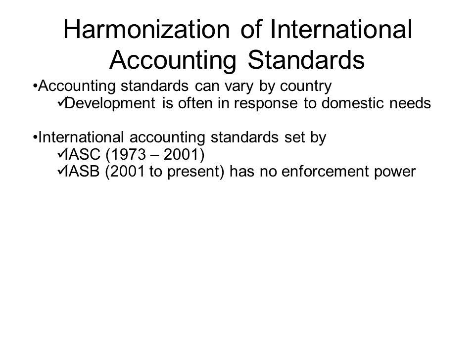 Harmonization of International Accounting Standards Accounting standards can vary by country Development is often in response to domestic needs Intern