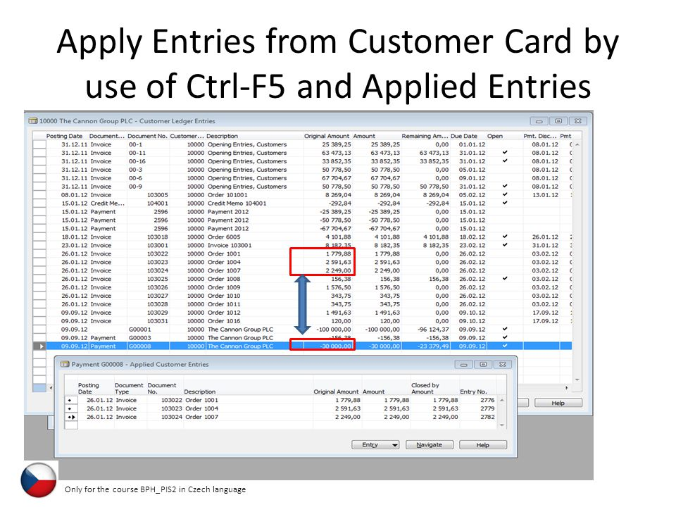 Apply Entries from Customer Card by use of Ctrl-F5 and Applied Entries Only for the course BPH_PIS2 in Czech language