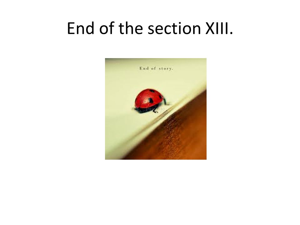 End of the section XIII.