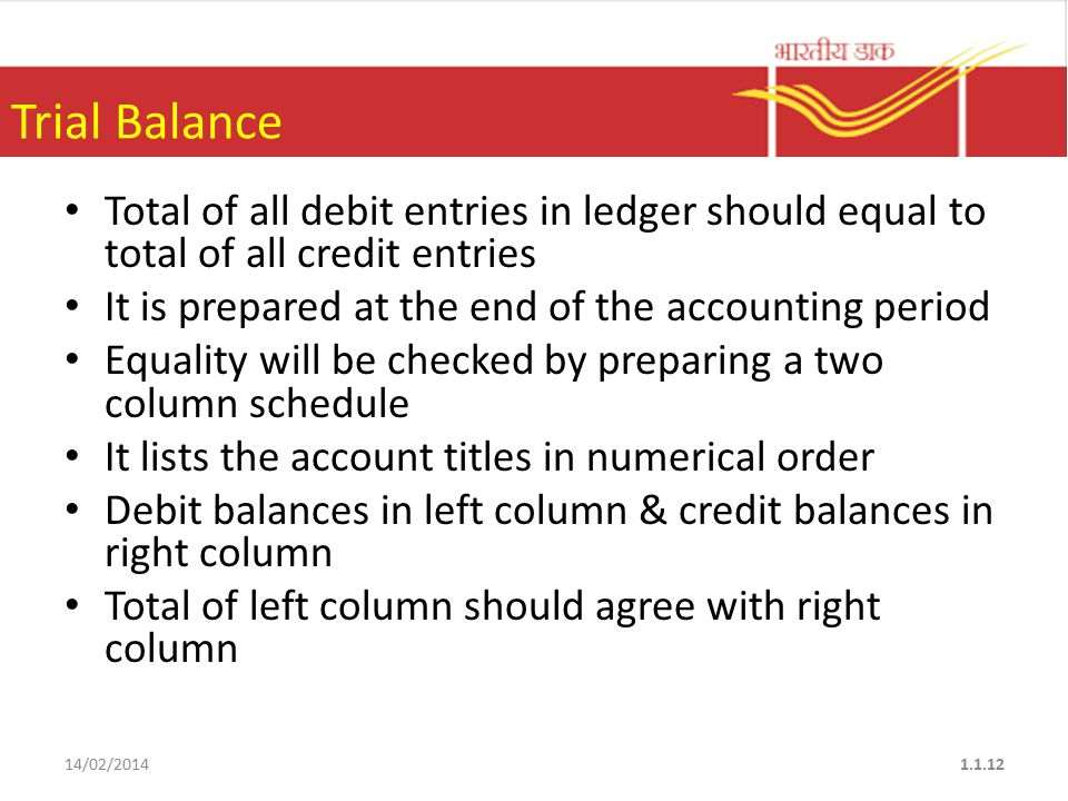 Trial Balance Total of all debit entries in ledger should equal to total of all credit entries It is prepared at the end of the accounting period Equality will be checked by preparing a two column schedule It lists the account titles in numerical order Debit balances in left column & credit balances in right column Total of left column should agree with right column 14/02/20141.1.12
