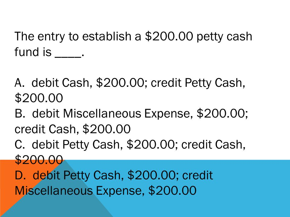 The entry to establish a $200.00 petty cash fund is ____.