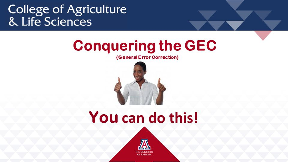 Conquering the GEC You can do this! (General Error Correction)