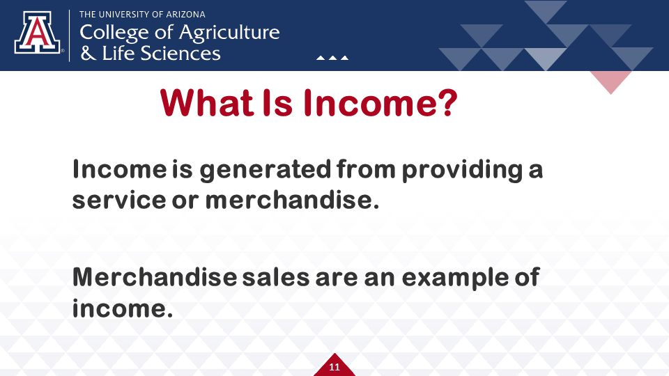11 Income is generated from providing a service or merchandise. Merchandise sales are an example of income. What Is Income?