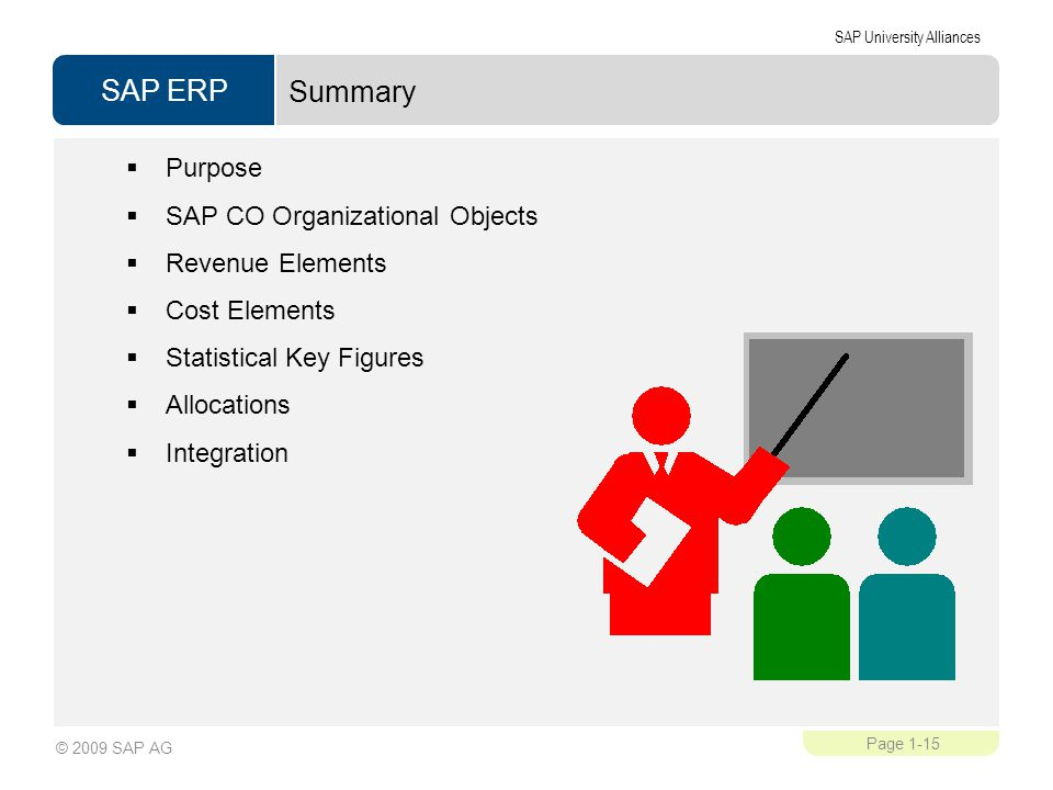 SAP ERP SAP University Alliances Page 1-15 © 2009 SAP AG Summary  Purpose  SAP CO Organizational Objects  Revenue Elements  Cost Elements  Statistical Key Figures  Allocations  Integration