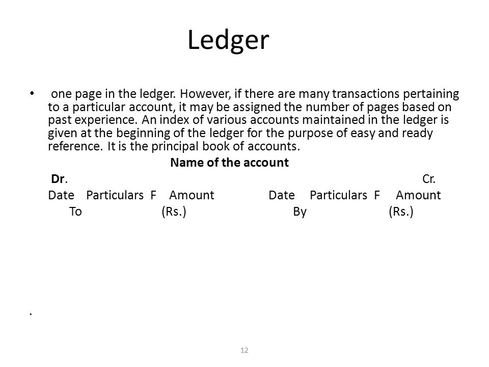 Ledger one page in the ledger.