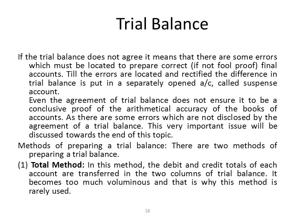 Trial Balance If the trial balance does not agree it means that there are some errors which must be located to prepare correct (if not fool proof) final accounts.