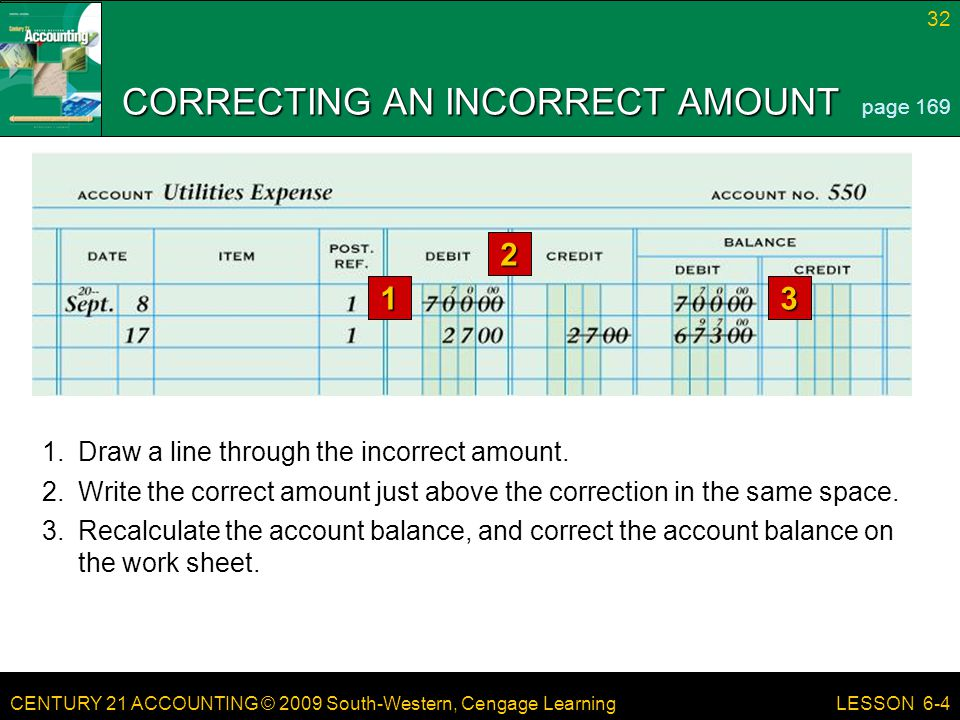 CENTURY 21 ACCOUNTING © 2009 South-Western, Cengage Learning 32 LESSON 6-4 CORRECTING AN INCORRECT AMOUNT 1 2 3 page 169 1.Draw a line through the inc
