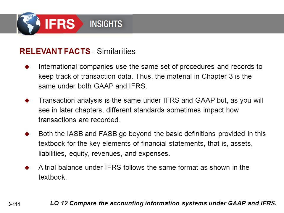 3-114 LO 12 Compare the accounting information systems under GAAP and IFRS.  International companies use the same set of procedures and records to ke