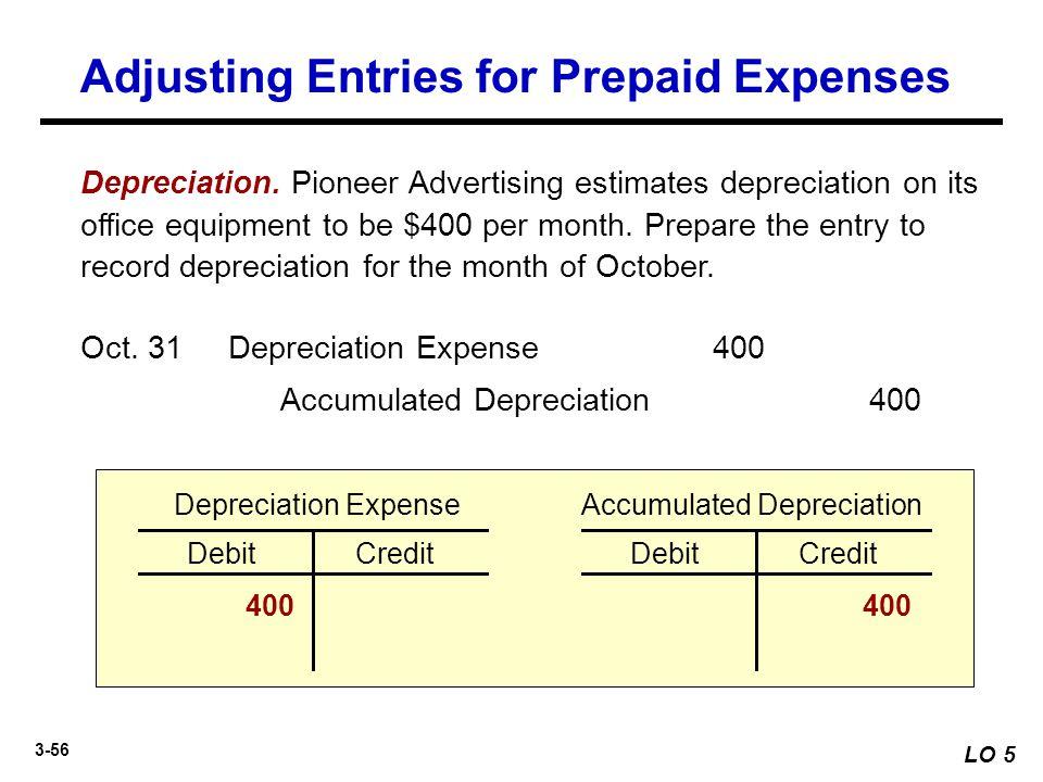 3-56 Depreciation. Pioneer Advertising estimates depreciation on its office equipment to be $400 per month. Prepare the entry to record depreciation f