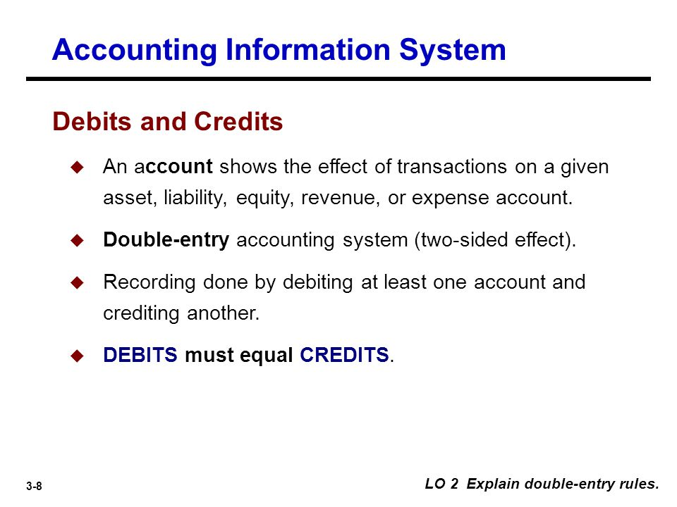 3-9 Debits and Credits  An arrangement that shows the effect of transactions on an account.