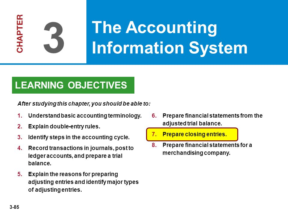 3-85 1. 1.Understand basic accounting terminology. 2. 2.Explain double-entry rules. 3. 3.Identify steps in the accounting cycle. 4. 4.Record transacti