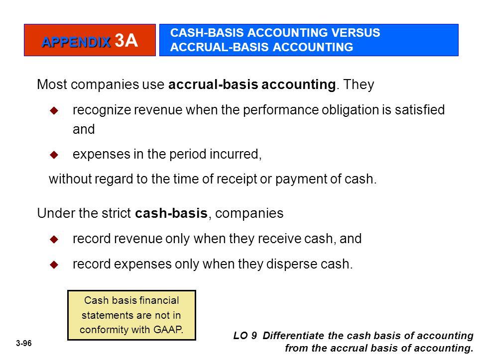 3-96 APPENDIX APPENDIX 3A CASH-BASIS ACCOUNTING VERSUS ACCRUAL-BASIS ACCOUNTING Most companies use accrual-basis accounting. They  recognize revenue