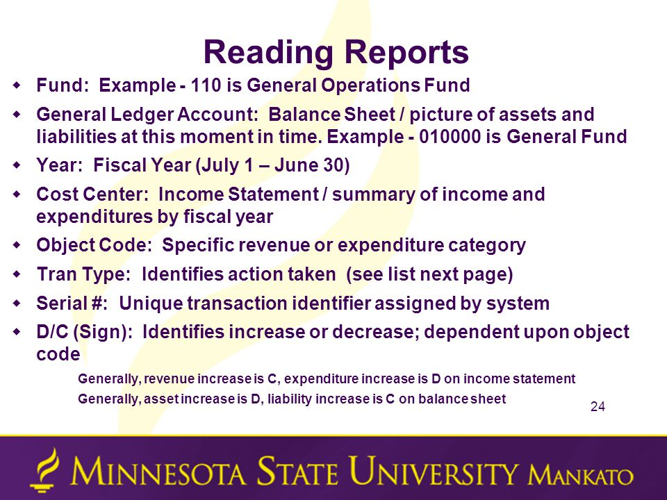 Reading Reports  Fund: Example - 110 is General Operations Fund  General Ledger Account: Balance Sheet / picture of assets and liabilities at this m