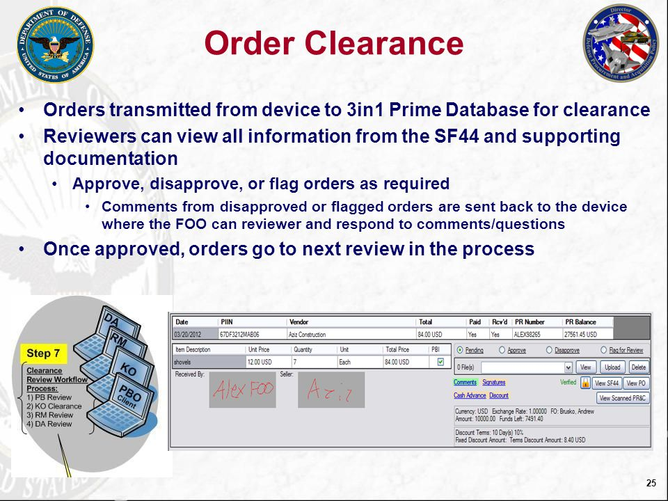 26 Add Clearance Screen View, Upload Documents including View Comments between Reviewer & FOO View Signature from SF44 Approval Letters Receipts Items ordered Enter/View Comments Select Clearance Criteria Disposition Orders POs SF44s Order Info Payment Info