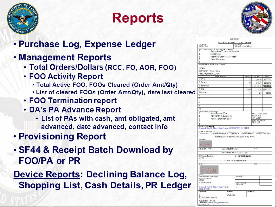 32 Add Reports: Accounting Log PR Cash Reports can be generated for all orders by Unit, Contracting Office, Finance Office, or AOR.