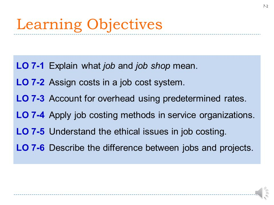 7-2 Learning Objectives LO 7-1Explain what job and job shop mean.