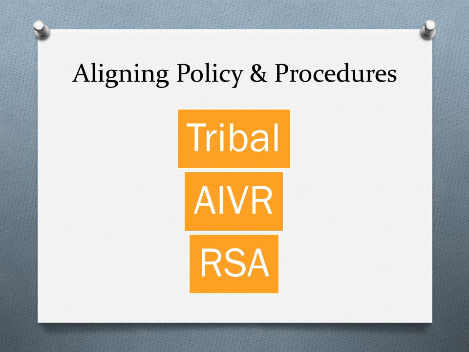 Aligning Policy & Procedures Tribal AIVR RSA