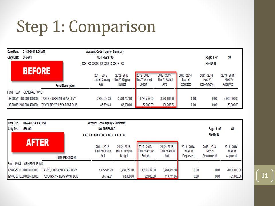 Step 1: Comparison 11
