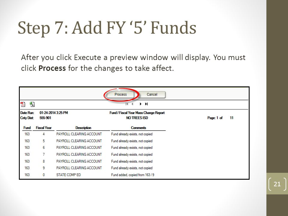 Step 7: Add FY '5' Funds After you click Execute a preview window will display. You must click Process for the changes to take affect. 21