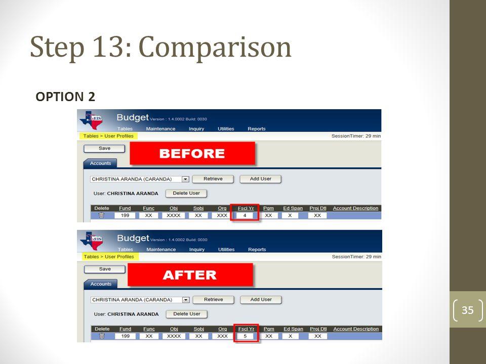 Step 13: Comparison OPTION 2 35