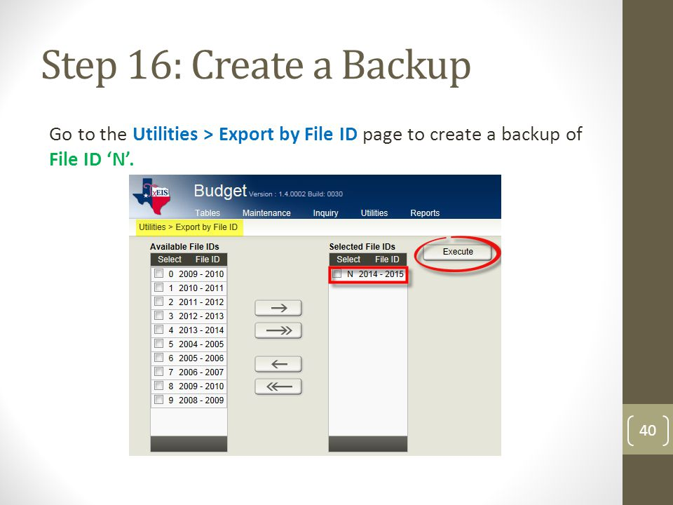 Step 16: Create a Backup Go to the Utilities > Export by File ID page to create a backup of File ID 'N'. 40