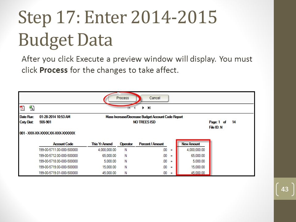 Step 17: Enter 2014-2015 Budget Data After you click Execute a preview window will display. You must click Process for the changes to take affect. 43