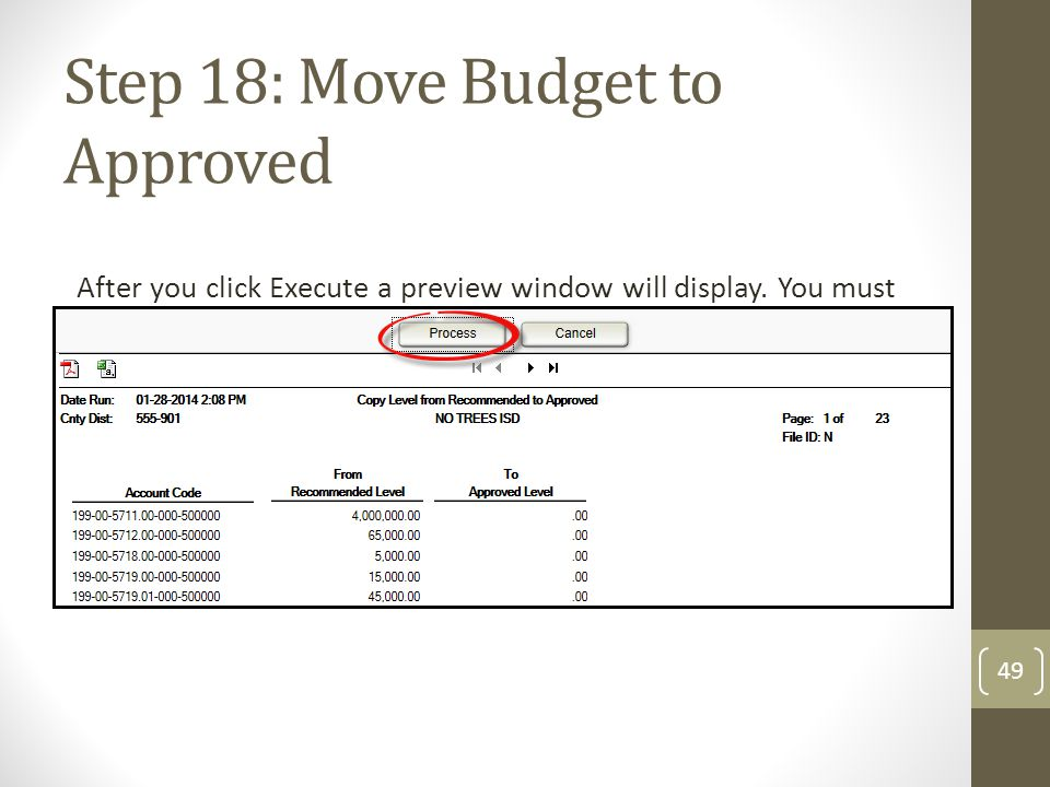 Step 18: Move Budget to Approved After you click Execute a preview window will display. You must click Process for the changes to take affect. 49