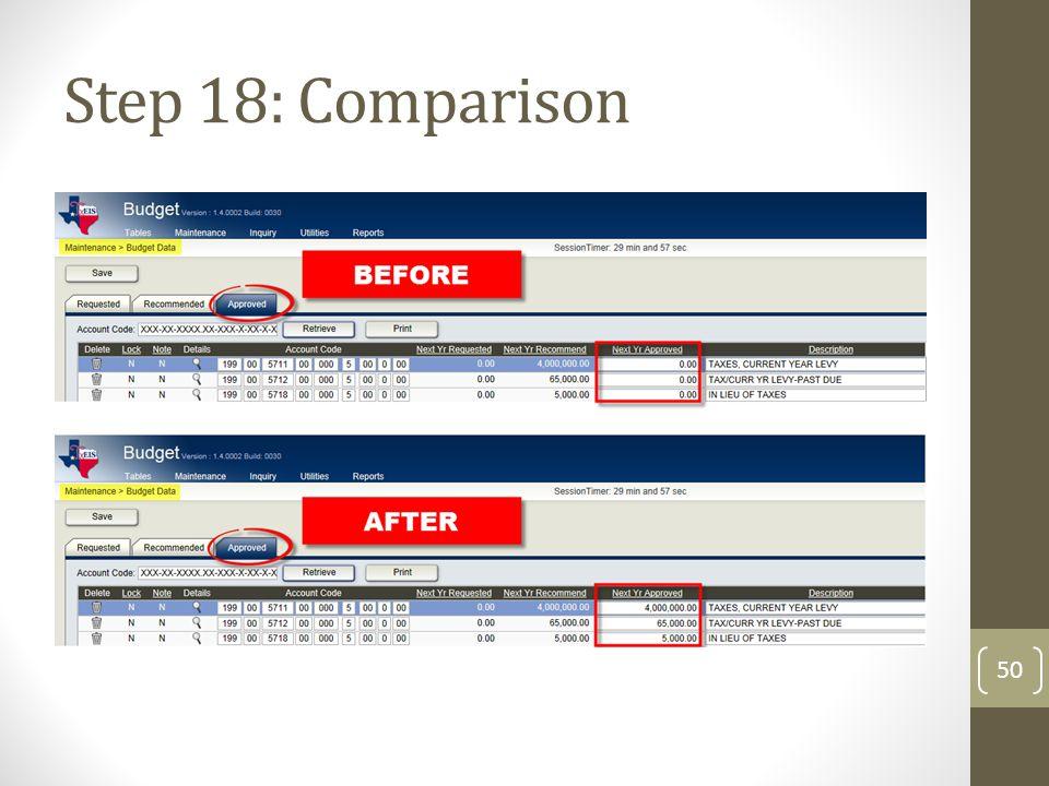 Step 18: Comparison 50